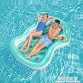 雙人游泳氣墊床水上漂浮墊浮毯充氣墊浮臺海上浮床游泳墊子浮板 極簡雜貨
