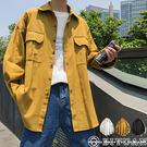 【OBIYUAN】落肩襯衫 素面 寬鬆 口袋 休閒 襯衫外套 共3色 情侶款【FGCW03】