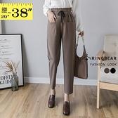 長褲--修身顯瘦百搭高腰寬版鬆緊帶大口袋設計毛料哈倫褲(黑.咖XL-5L)-P149眼圈熊中大尺碼◎