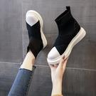 鞋子女冬季薄款2020年秋季新款百搭透氣襪子鞋短靴彈力靴厚底女靴 安雅家居館