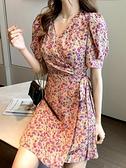 碎花洋裝 短袖V領雪紡碎花裙2021年夏新款收腰顯瘦小個子復古法式連身裙女 小天使