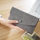 長夾 韓版新款錢包女長款拉鏈女士錢包薄款卡包磨砂信封包皮夾【快速出貨八折搶購】