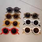 太陽眼鏡 兒童墨鏡寶寶防紫外線太陽眼鏡男女童復古太陽鏡小孩百搭圓框眼鏡 618搶購