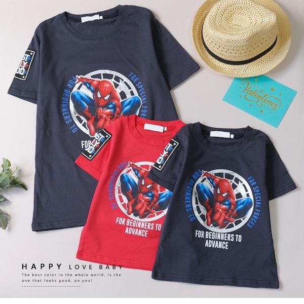 大童 帥氣蜘蛛人飛天短T 春夏童裝 男童棉T 男童上衣 男童短袖 男童T恤