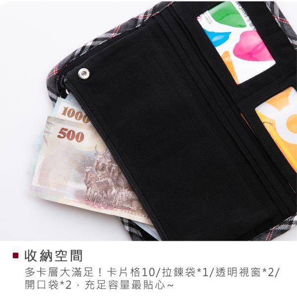 Kiro貓‧ 貓頭鷹 多卡層 格紋風 鈔票收納/錢包/長布夾【820050】