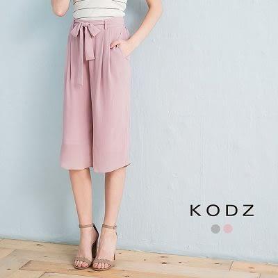 東京著衣【KODZ】知性肌理附綁帶打褶寬褲-S.M.L(170570)