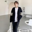 雙11特價 針織外套2021年新款早秋裝寬鬆慵懶風針織毛衣黑色外套外搭開衫春秋季女裝