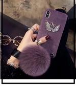 【SZ24 】馬海毛水鑽天鵝狐狸毛球iphone xs max 手機殼iphone 7 plus 手機殼iphone 6s plus 手機殼XR