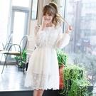 洋裝-長袖白色鏤空蕾絲露背女連身裙73nj39【巴黎精品】