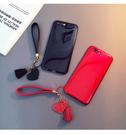 iPhone 6 6S 7 8 PLUS 手機殼 簡約 純色 光面 保護套 全包 防摔 軟殼 超薄 保護殼 愛心 手繩