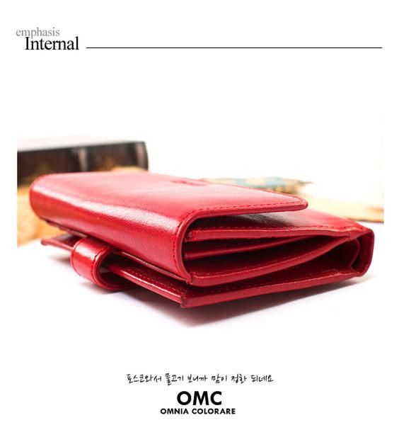 OMC - 原皮魅力真皮系列三折式6卡1照中夾 - 神秘紫