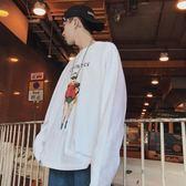 2018夏季新款情侶印花t恤簡約長袖寬鬆打底衫