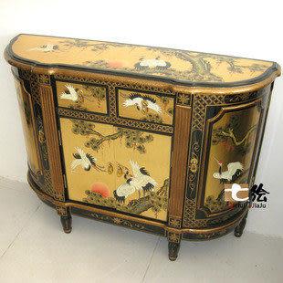 田園新古典中式金箔 手繪 鶴松門廳櫃