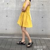 韓版夏季chic中長款無袖方領后背蝴蝶結綁帶壓褶純色洋裝娃娃裙