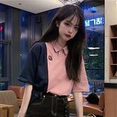 polo衫 開學季短袖T恤女夏寬鬆韓版學院風拼色Polo衫領學生半袖上衣 - 風尚3C