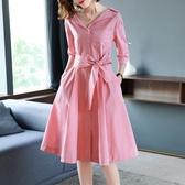 洋裝 小翻領收腰大擺裙子OL氣質襯衫裙條紋連身裙 微格嚴選