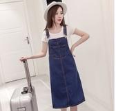 牛仔裙背心裙吊帶裙S-5XL小中大尺碼胖MM半身裙1F039.1605 韓依紡