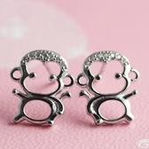 925純銀耳環鑲鑽(耳針式)-生日情人節禮物俏皮可愛小猴子女飾品73ag74【巴黎精品】