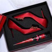 高跟鞋 秀禾服婚鞋女 新款結婚鞋子細跟婚紗鞋水鑚扣新娘鞋紅色高跟鞋 韓菲兒