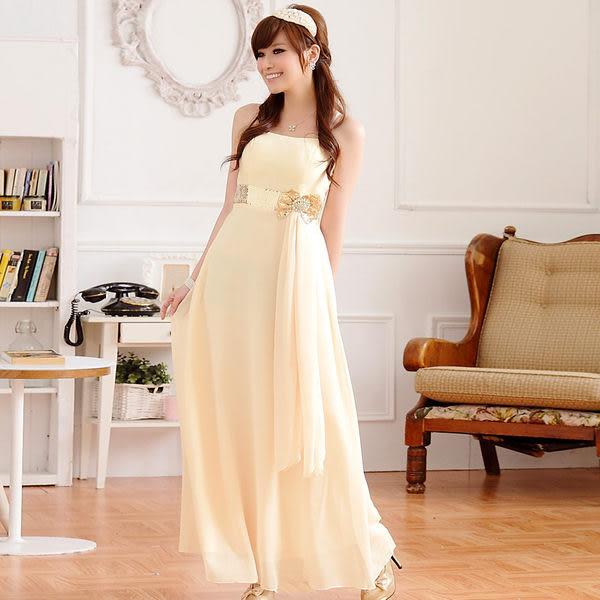 亮鑽蝴蝶結亮片腰帶細肩帶長版晚禮服連身長裙 共三色-美之札