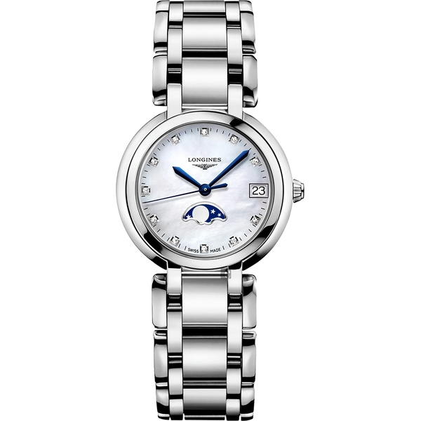 LONGINES 浪琴 PrimaLuna 新月真鑽月相石英女錶-珍珠貝/30mm L81154876