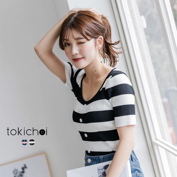 東京著衣-tokichoi-百搭亮眼橫紋高彈性排釦針織上衣-S.M(190180)