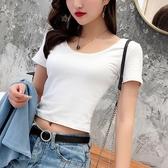 短T 白色圓領t恤女短袖高腰短款露臍夏季緊身上衣性感大領口漏背體恤