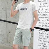 夏季男士休閒套裝新款運動服潮流韓版兩件套短袖半袖衣服 QG28450『bad boy時尚』