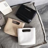 韓版手提包柔軟PU皮纏繞手拎包斜跨兩用極簡CHIC韓風包側背包   極有家