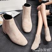 裸靴 2021秋季馬丁靴女靴子粗跟韓版短靴學生中跟百搭純色絨面裸靴單靴 小天使
