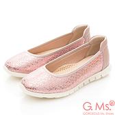 G.Ms. MIT輕量超軟Q-燙金蛇紋羊皮懶人休閒鞋*粉紅