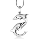 《QBOX 》FASHION 飾品【CSP683】精緻個性歐美海豚雙魚鑄造鈦鋼墬子項鍊/掛飾