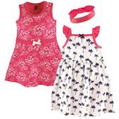 Luvable Friends 細肩帶無袖洋裝+背心裙+髮飾套裝三件組 白樹 | 女寶寶連衣裙(嬰幼兒/兒童/小孩)