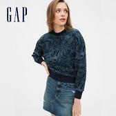 Gap女裝 時尚風格圓領休閒上衣 581478-靛藍棕櫚葉印花