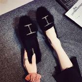 網紅加絨單鞋女韓版百搭2019冬季新款毛毛鞋外穿豆豆鞋平底棉鞋子