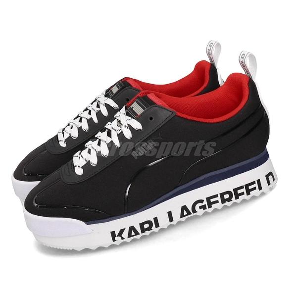Puma 休閒慢跑鞋 Roma Amor Karl 黑 白 女鞋 大LOGO設計 老佛爺 運動鞋 【PUMP306】 37005601