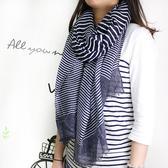 【Lus.G】經典時尚條紋棉麻圍巾-共3色