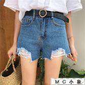 牛仔短褲 韓版高腰寬鬆顯瘦舊破洞牛仔褲