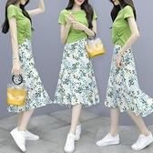 夏季女短袖t恤碎花雪紡半身連衣裙子兩件套短袖長裙【小酒窩】