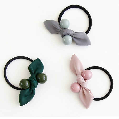 【NiNi Me】韓系髮飾 氣質甜美蝴蝶結糖果圓珠髮圈髮束 髮束 H9450