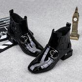 馬丁靴女粗跟低跟方頭百搭英倫風裸靴女短靴