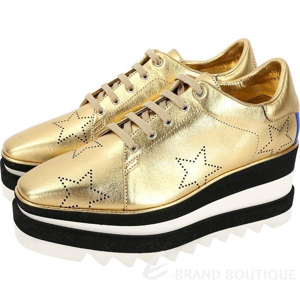 Stella McCartney Wedges 星星打洞皮革厚底紳士鞋(金色) 1830559-24