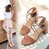 高跟鞋鞋子 性感夏季搭扣粗跟涼鞋《小師妹》sm421
