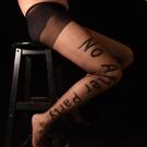 -性感絲襪男-AFTER PARTY字母絲襪英文印膠花個性歐美黑色性感連褲襪絲襪男XH_抖音