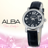 ALBA 雅柏 手錶專賣店 AG8451X1 女錶 指針錶 黑色皮革錶帶 黑面 四點鐘方向日期顯示