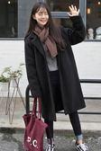 毛呢外套女中長款韓版2018新款森系秋冬反季學生赫本雙面呢子大衣「輕時光」