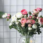 芍藥花客廳高品質仿真花裝飾絹花花束粉花卉假花花藝wy 全館滿千89折