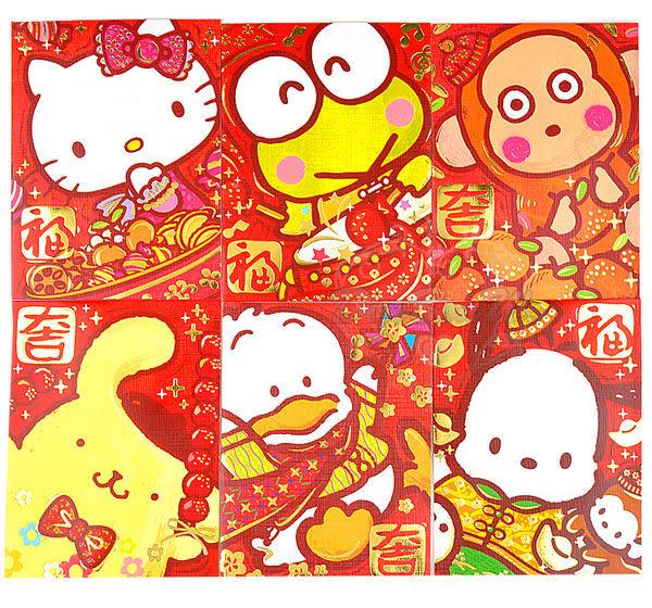 Hello Kitty布丁狗大眼蛙淘氣猴貝克鴨帕洽狗新年紅包袋8入組燙金特寫迷你085161通販屋