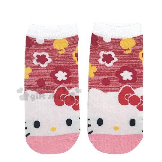 〔小禮堂〕Hello Kitty 成人及踝襪《粉紅.大臉.花》短襪.隱形襪.23-24cm適穿 4548643-11899