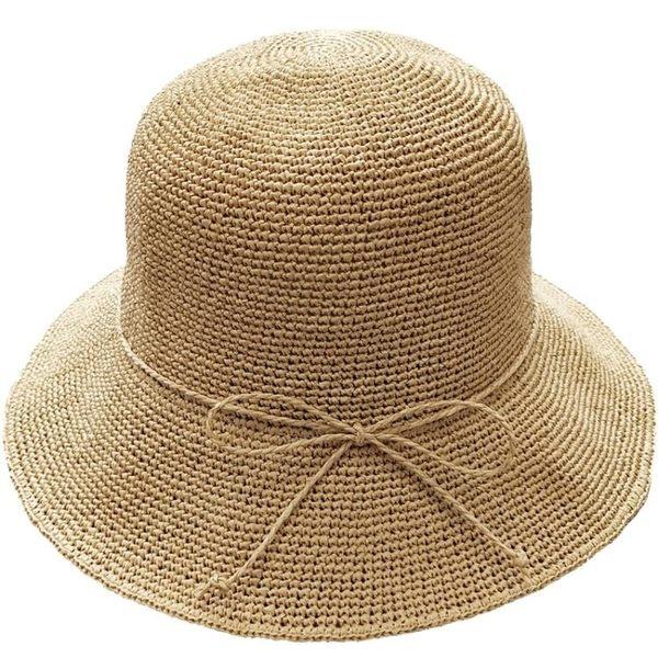 遮陽帽子女夏天漁夫帽防曬草帽百搭可折疊出游沙灘帽韓版手工盆帽   LannaS